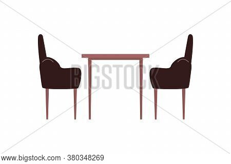 Table And Chairs Flat Color Vector Object. Armchairs. Coffee Table. Home Furnishing. Kitchen And Liv