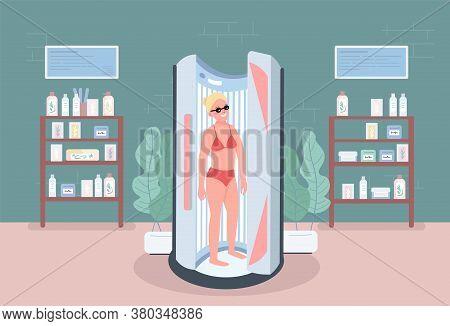 Solarium Flat Color Vector Illustration. Stand Up Sunbed. Spa Salon Equipment For Procedures. Woman
