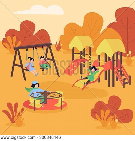 Autumn Playground Flat Color Vector Illustration. Fall Play Area. Kids Having Fun On Swing And Slide