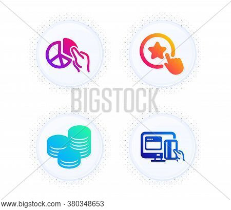 Tips, Loyalty Star And Pie Chart Icons Simple Set. Button With Halftone Dots. Online Payment Sign. C