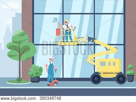 Urban Cleaning Flat Color Vector Illustration. Cleaners Team 2d Cartoon Characters With City On Back