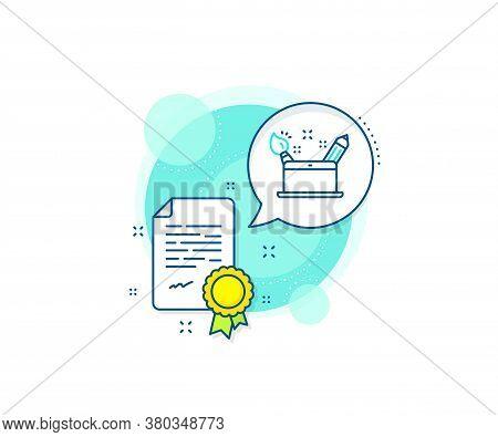 Graphic Designer Sign. Certification Complex Icon. Creativity Concept Line Icon. Brush And Pencil Sy