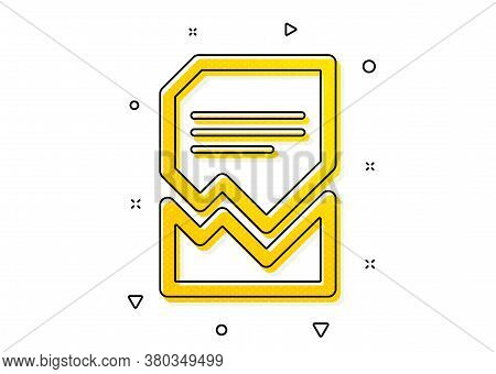 Bad File Sign. Corrupted Document Icon. Paper Page Concept Symbol. Yellow Circles Pattern. Classic C