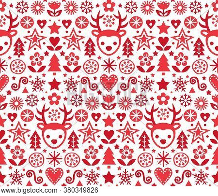 Christmas Cute Scandinavian Folk Art Vector Red Seamless Pattern, Repetitive Design With Reindeer, S