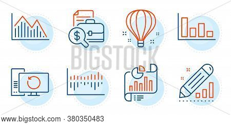 Air Balloon, Edit Statistics And Column Diagram Signs. Investment Graph, Accounting Report And Repor
