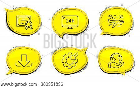24h Service Sign. Diploma Certificate, Save Planet Chat Bubbles. Airplane Travel, Download And Seo G