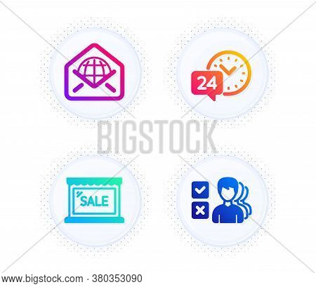 Sale, 24h Service And Web Mail Icons Simple Set. Button With Halftone Dots. Opinion Sign. Shopping S