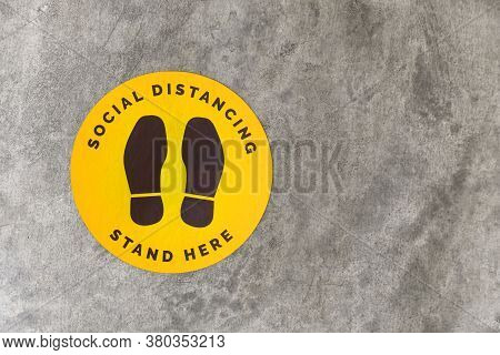 Top View Footprint Sign For Stand In Shopping Mall, Supermarket. Social Distancing , Covid-19 Comcep