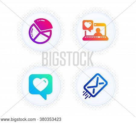 Pie Chart, Friends Chat And Heart Icons Simple Set. Button With Halftone Dots. E-mail Sign. Presenta