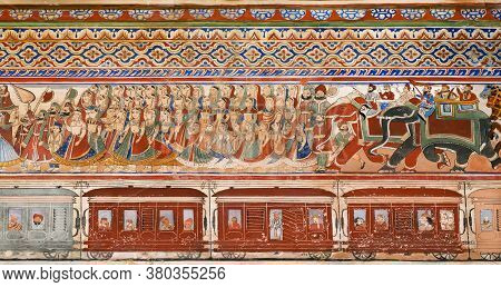 Nawalgarh, India: Artwork With Passengers On Train Station On Naive Style Fresco Of 19th Century Hav