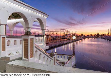 Corpus Christi, Texas, USA on the seawall at dawn.