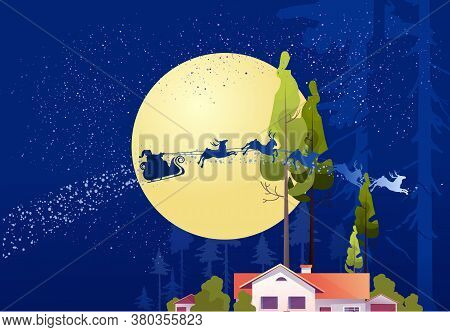 Wooden House In The Deep Forest, Foresters Hut, Vector Cartoon, Mystical Moonlight, Night Sky