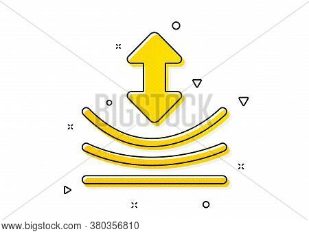 Elastic Material Sign. Resilience Icon. Yellow Circles Pattern. Classic Resilience Icon. Geometric E