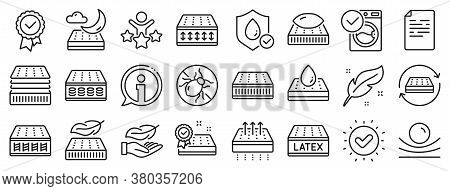 Breathable, Washable, Latex. Mattress Line Icons. Memory Foam, Pillow, Bed Tick Icons. Light Weight,