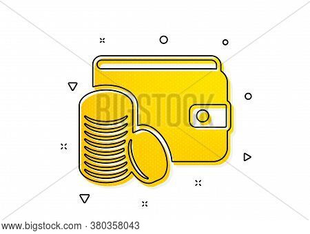 Cash Money Sign. Wallet With Coins Icon. Payment Method Symbol. Yellow Circles Pattern. Classic Paym