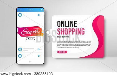 Phone Banner Template. Super Sale Badge. Discount Banner Shape. Coupon Bubble Icon. Social Media Ban