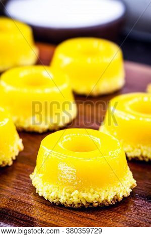 Egg Yolk Candy With Sugar, Typical Of Brazil And Portugal, Called Quindim Or Brisa De Liz.