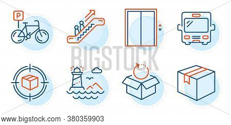 Lift, Parcel And Escalator Signs. Parcel Tracking, Return Package And Lighthouse Line Icons Set. Bus