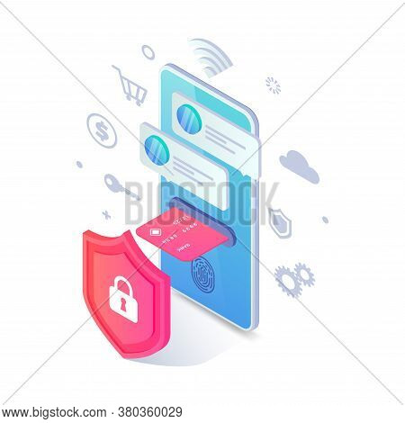 Online Payment Protection Isometric Concept. Safe Mobile Cashless Payments, 3d Vector Smartphone Wit