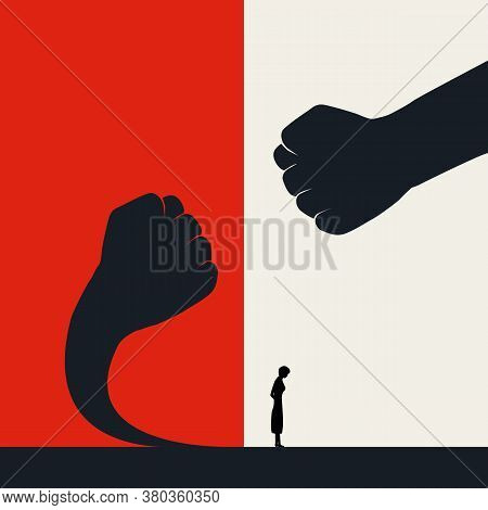 Stop Violence Against Women And Fight Back Vector Poster Template. Fearless Women With Courage Stand