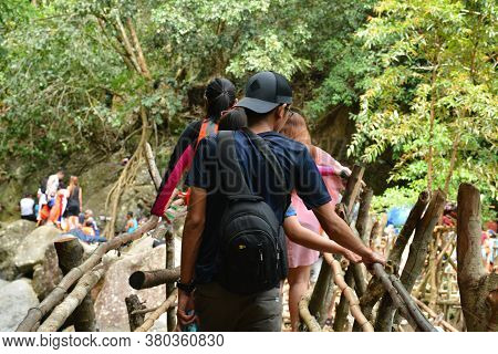 Aurora, Ph - April 21 - Tanawan Waterfalls Bamboo Bridge On April 21, 2019 In Dingalan, Aurora, Phil