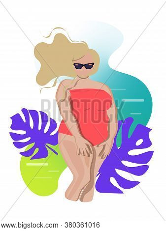Plus Size Caucasian Blonde Woman Wearing Pink Swimsuit And Sunglasses On Abstract Background With Se