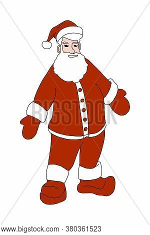 Christmas Santa Claus In A Red Suit Mittens And Boots. Santa Claus Character In Full Growth. Hes A C