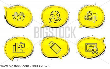 Usb Flash Sign. Diploma Certificate, Save Planet Chat Bubbles. Safe Water, Cogwheel And Decreasing G