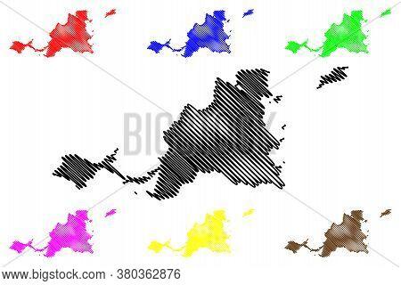 Saint Martin Island (france, French Republic, Overseas Collectivity) Map Vector Illustration, Scribb