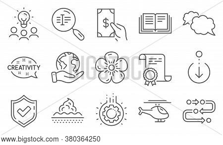 Set Of Business Icons, Such As Confirmed, Methodology. Diploma, Ideas, Save Planet. Search Text, Cre