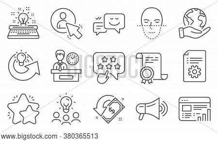 Set Of Technology Icons, Such As Star, Happy Emotion. Diploma, Ideas, Save Planet. Share Idea, Techn