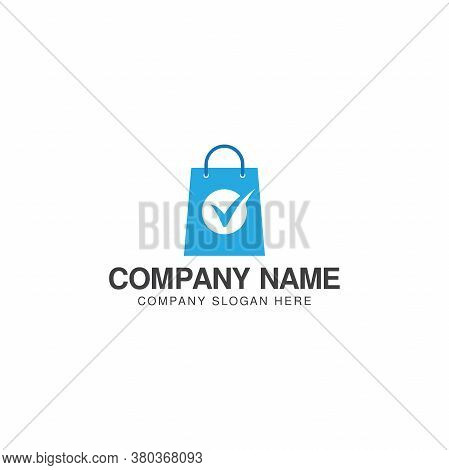 Trusted Shopping Logo Or Icon Vector Design Template, Shopping Bag And Check Mark