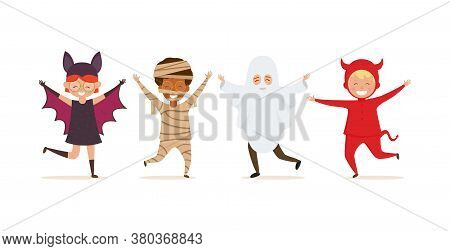 Halloween Kids Costume Isolated On White Background. Set Of Cartoon Characters Of Children Ghost, Ba
