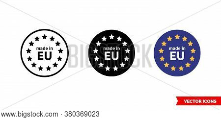 Made In Eu Icon Of 3 Types Color, Black And White, Outline. Isolated Vector Sign Symbol.