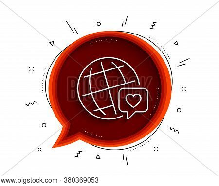 Friends World Line Icon. Chat Bubble With Shadow. Friendship Love Sign. World Brand Ambassador Symbo