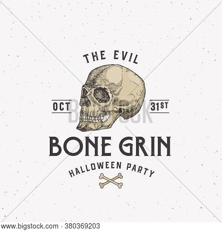 Evil Bone Grin Party Vintage Style Halloween Logo Or Label Template. Hand Drawn Scull Sketch Symbol