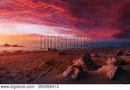Colorful Colorful Seascape During Sunset. Incredible Nature Landscape. Amazing Beach Sunset With Pic