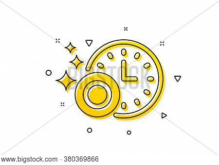 Dishwasher Sign. Cleaning Dishes With Time Icon. Clean Tableware Sign. Yellow Circles Pattern. Class