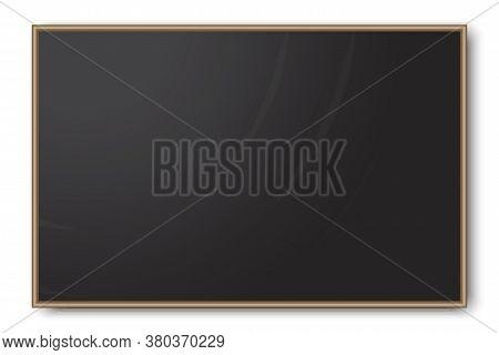 School Blank Board. Chalk-free Blackboard. Black Wooden School Board. Vector Image.