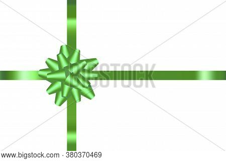 Green Ribbon For A Gift. Satin Ribbon For Packaging. Green Bow On A Ribbon. Vector Image.