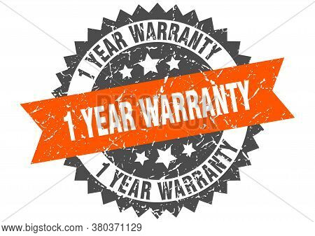 1 Year Warranty Grunge Stamp With Orange Band. 1 Year Warranty