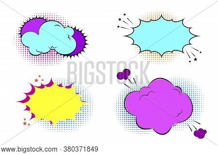 Cartoon Comic Bubbles. Vector Image Of A Boom. Clouds In The Form Of Stickers. Splash Or Explosion I