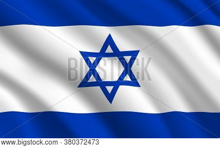 Israeli Flag, Israel Country National Identity, Vector Design With Six Pointed Star Of David On Whit