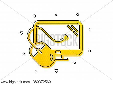 Pc Mouse Component Sign. Computer Icon. Monitor Symbol. Yellow Circles Pattern. Classic Computer Mou