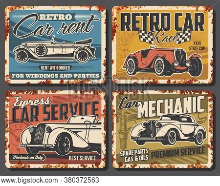 Vintage Cars, Classic Vehicles Rusty Metal Plate. Rare Coupe Or Roadster. Retro Limousine Rental Ser