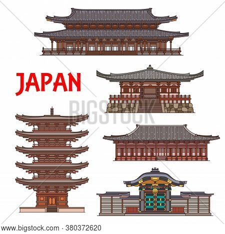 Japanese Temples And Shrine Pagodas, Japan Architecture Landmarks, Vector Buddhism Shinto Monasterie