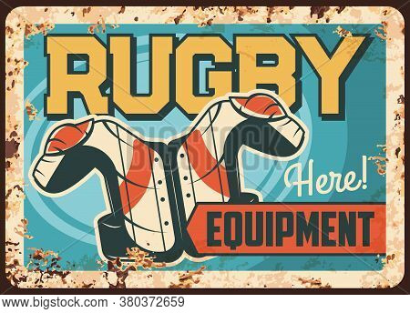 Rugby Protective Equipment Rusty Metal Vector Plate. Team Sport Wear And Outfits, Protective Vest Wi