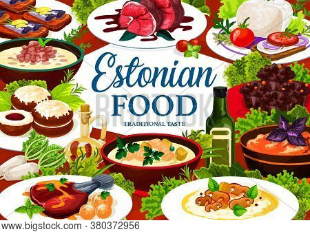 Estonian Cuisine Vector Food Meals Pork Mulqi, Milk Fish Soup, Syir, Homemade Sprat, Dark Beer Pork