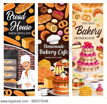 Desserts, Cakes And Bakery Vector Banners. Baker With Bake Bagels And Buns, Fresh Baking Sweet Desse