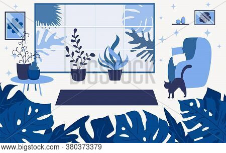 Living Room Interior Flat Illustration. Modern Apartment Restroom With No People. House Lounge Space